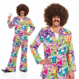 Mens Psychedelic Suit Fancy Dress Costume 60S 70S Retro Hippy Hippie Outfit M-XL