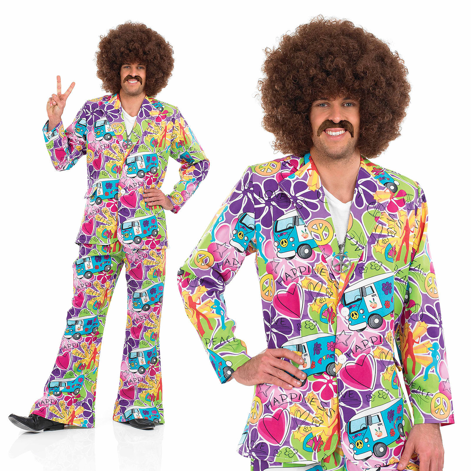 Mens Psychedelic Suit Fancy Dress Costume 60S 70S Retro ...