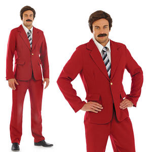 Mens Ron Burgandy Fancy Dress Costume News Anchor Man Suit Outfit M-XL