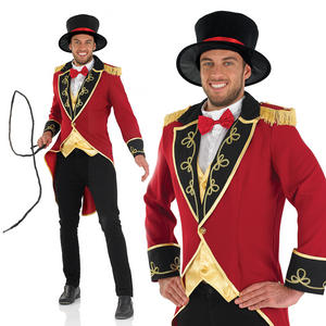Mens Ring Master Fancy Dress Costume Circus Lion Tamer Tailcoat Outfit M-XL