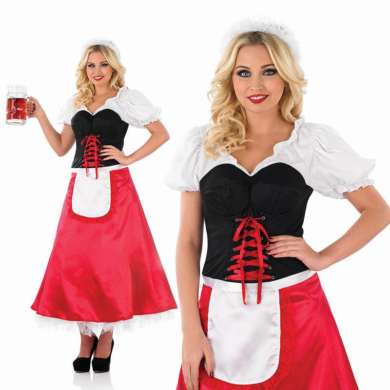 Ladies Oktoberfest Long Fancy Dress Costume Bavarian German Outfit UK 8-30