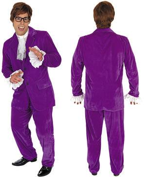 Mens Purple Austin Powers Fancy Dress Costume Suit 60S Retro Gigolo Outfit M-XL