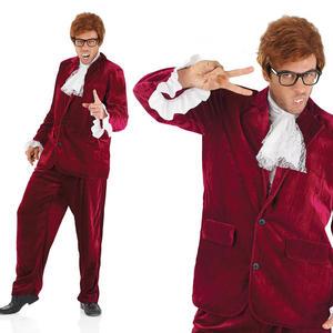 Mens Red Austin Powers Fancy Dress Costume Suit 60S Gigolo Suit Outfit M-XL