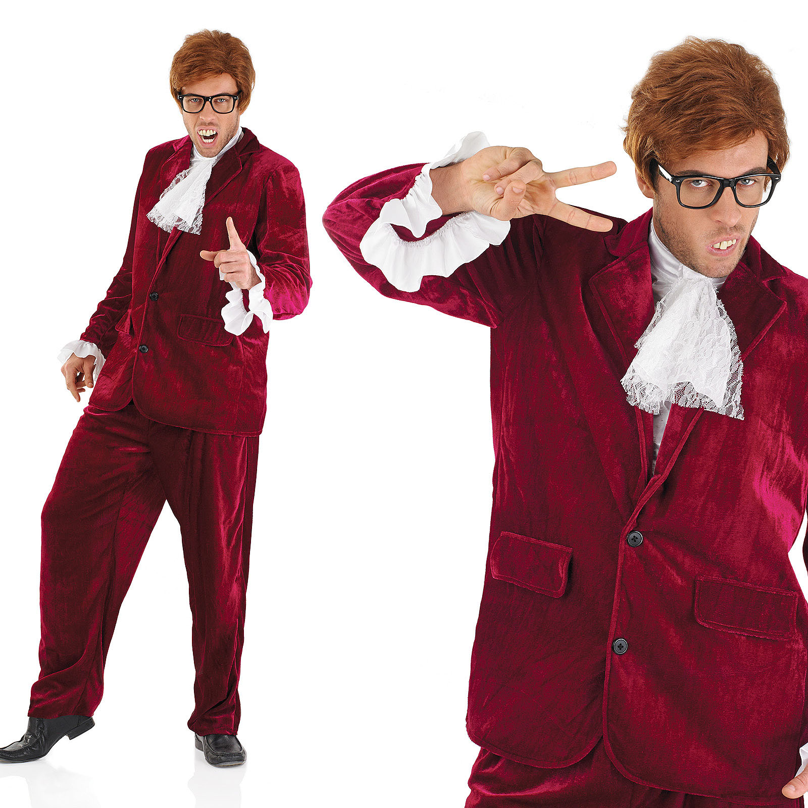 Mens Red Austin Powers Fancy Dress Costume Suit 60S Gigolo Suit Outfit M-XL  sc 1 st  Fancy Dress 365 & Mens Red Austin Powers Fancy Dress Costume Suit 60S Gigolo Suit ...