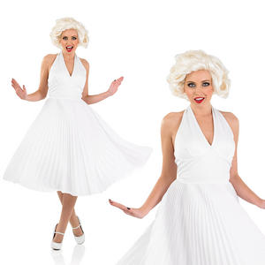 Ladies White Marilyn Fancy Dress Costume Halter Neck 50S Outfit UK 8-30