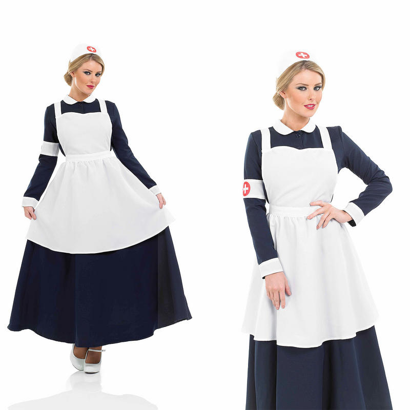 6d0c362d623f4 Ladies Victorian Nurse Fancy Dress Costume Florence Nightingale Outfit UK  8-30. zoom Hover or click to enlarge. 2. 1
