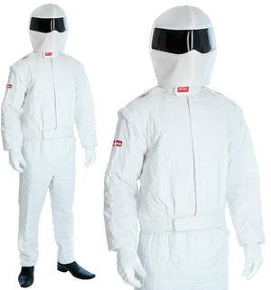 Mens White Racing Driver Fancy Dress Costume Suit Stag Outfit Tv Secret M-XL