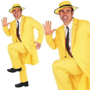 Mens Yellow Fancy Dress Suit Costume The Mask Pimp Gangster Outfit M-XL
