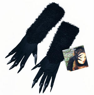 Black Cat Woman Fancy Dress Costume Gloves & Claws Halloween Witch Vampire