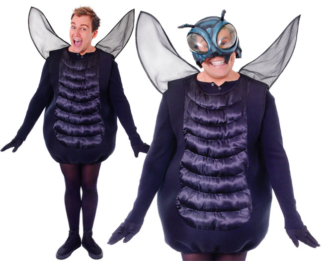 Adult Black The Fly Fancy Dress Costume Halloween Bug Insect Costume Mens Ladies Costume