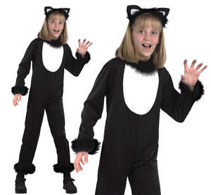 Childrens Black Cat Fancy Dress Costume Witch Halloween Outfit Kids 3-13 Yrs