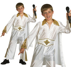 Childrens Elvis Presley Fancy Dress Costime Rock Star The King Outfit 6-13 Yrs