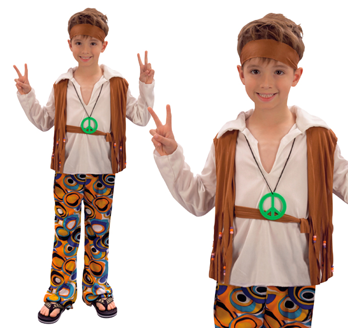 childrens hippy boy fancy dress costume 60s 70s retro