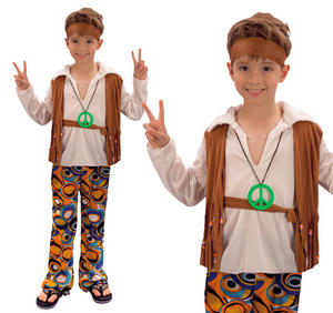 Childrens Hippy Boy Fancy Dress Costume 70'S Hippie Childs Kids Outfit 3-13 Yrs