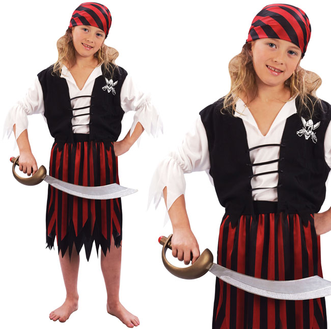 Childrens Girl Pirates Of The Caribbean Fancy Dress Costume Book Week 3-13 Yrs