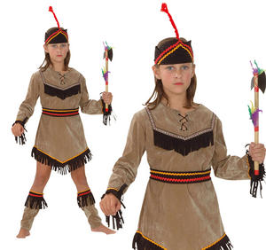 Childrens Indian Girl Fancy Dress Costume Pocahontas Childs Kids Outfit 3-13 Yrs