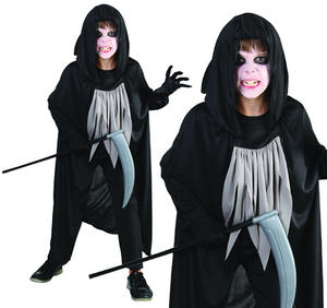 Childrens Grim Reaper Fancy Dress Costume Ghost Halloween Outfit 3-13 Yrs
