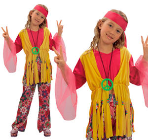 Childrens Hippy Girl Fancy Dress Costume 70'S Hippie Childs Kids Outfit 3-13 Yrs