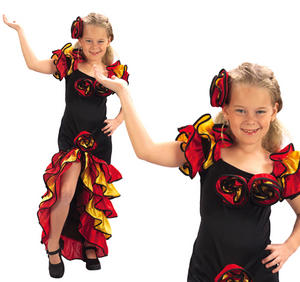 Childrens Girl Flamenco Fancy Dress Costume Spanish Dancer Outfit 3-13 Yrs