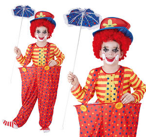 Childrens Hoop Clown Fancy Dress Costume Circus Halloween Kids Outfit 3-13 Yrs