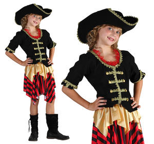 Childrens Pirate Fancy Dress Costume Buccaneer Halloween Outfit Girls 3-13 Yrs
