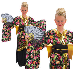 Childrens Geisha Girl Fancy Dress Costume Oriental Childs Kids Outfit 3-13 Yrs