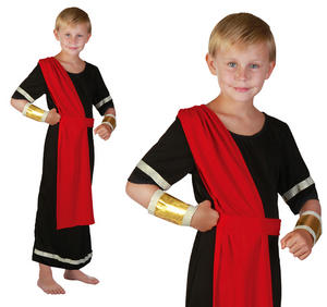 Childrens Black Julius Caesar Toga Fancy Dress Roman Costume Childs 3-13 Yrs