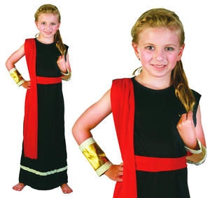 Childrens Black Roman Girl Toga Times Fancy Dress Costume Childs Kids 3-13 Yrs