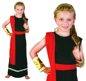 Childrens Black Roman Girl Toga Times Fancy Dress Costume Childs Kids 3-13 Yrs