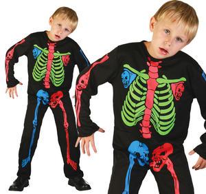 Childrens Skeleton Boy Halloween Fancy Dress Costume Multi Coloured 3-13 Yrs