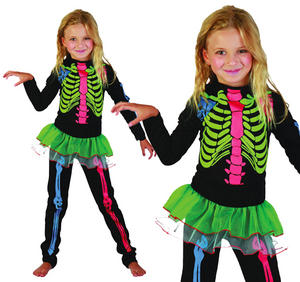Childrens Skeleton Girl Halloween Fancy Dress Costume Kids Childs 3-13 Yrs