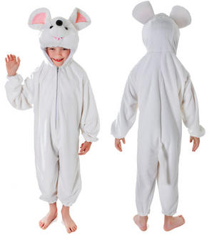 Childrens White Mouse Fancy Dress Costume Outfit With Head Kids Childs 3-8 Yrs