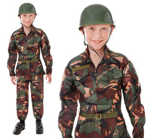 Childrens Boys Amy Soldier Fancy Dress Camouflage Camo Kids Outfit 6-10 Yrs