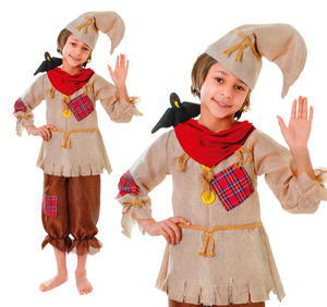 Childrens Scarecrow Fancy Dress Costume Halloween Outfit Childs 3-8 Yrs