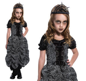 Childrens Spider Coffin Fancy Dress Costume Witch Halloween Outfit Kids 3-10 Yrs