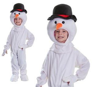 Childrens Plush Snowman Fancy Dress Costume Christmas Kids Outfit 4-8 Yrs