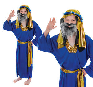 Childrens 3 Wise Men Fancy Dress Costume Blue King Outfit Boys Kids 3-8 Yrs