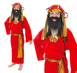 Childrens 3 Wise Men Fancy Dress Costume Red King Outfit Boys Kids 3-8 Yrs
