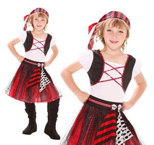 Childrens Pirate Fancy Dress Costume Halloween Buccaneer Outfit Girls 3-10 Yrs