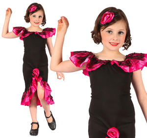 Childrens Rumba Girl Fancy Dress Costume Salsa Flamenco Outfit 3-10 Yrs