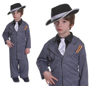 Childrens Gangster Pinstripe Fancy Dress Costume Suit Book Week Kids 3-10 Yrs