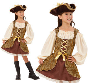 Childrens Pirate Fancy Dress Costume Golden Buccaneer Girls Outfit 3-10 Yrs
