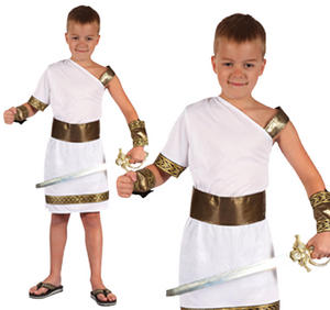 Childrens Roman Galdiator Fancy Dress Costume Book Week Kids Outfit 3-13 Yrs