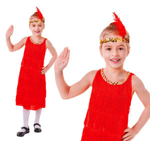 Childrens Red Flapper Fancy Dress Charleston 1920s Outfit Costume Kids 3-10 Yrs