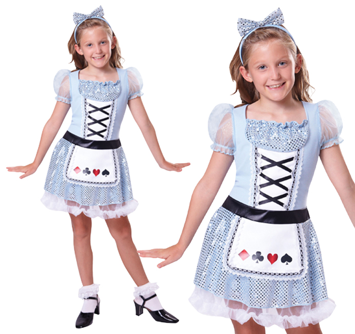 Childrens Alice In Wonderland Fancy Dress Costume Book Week Outfit 3-10 Yrs