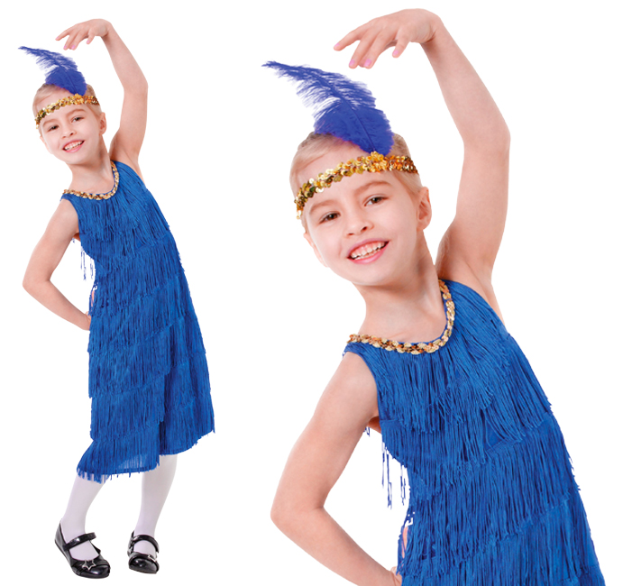Childrens Blue Flapper Fancy Dress Charleston 1920s Outfit Costume 3-10 Yrs