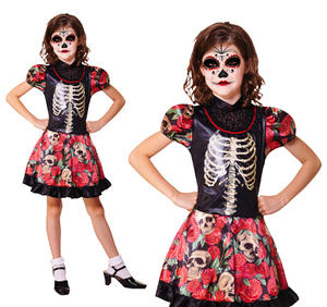 Childrens Day Of The Dead Girl Fancy Dress Costume Halloween Outfit 3-10 Yrs