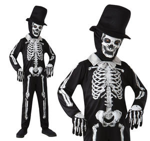 Childrens Skeleton Bone Man Fancy Dress Costume Halloween Outfit 3-10 Yrs