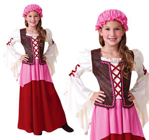 Childrens Tavern Girl Fancy Dress Costume Chamber Maid Girls Outfit 3-10 Yrs