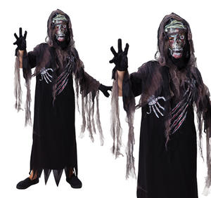 Childrens Zombie Grim Reaper Fancy Dress Costume Halloween Outfit 3-10 Yrs
